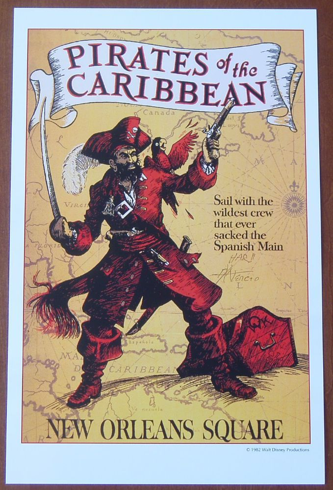 "DISNEY POSTER DISNEYLAND PIRATES OF THE CARIBBEAN 3 8.5/"" x 11/"""