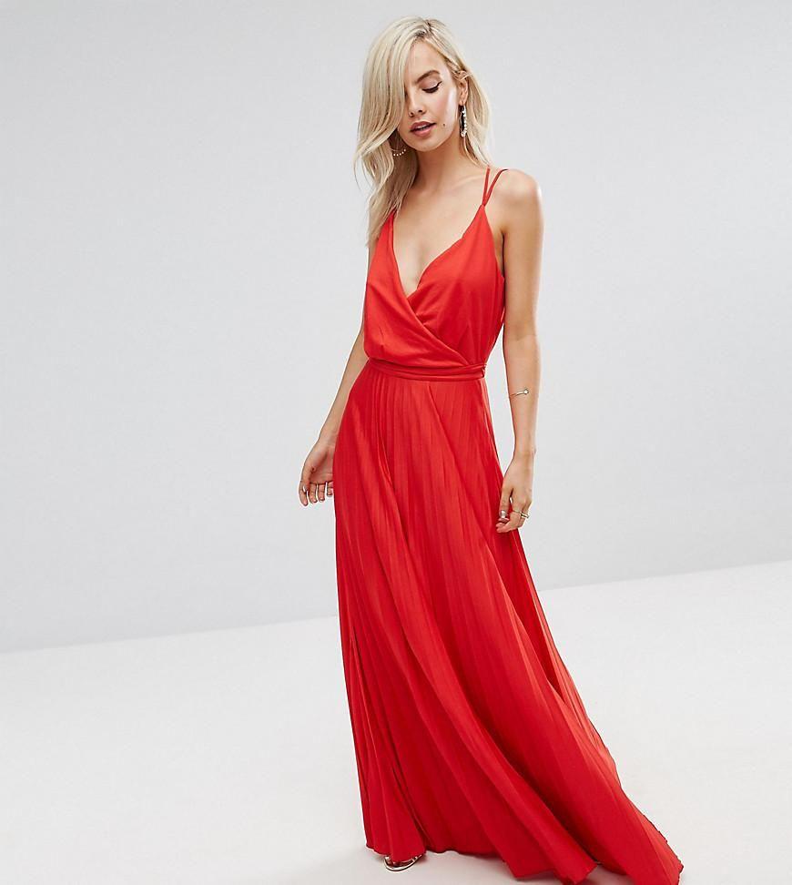Blouson Wrap Pleated Maxi Dress - Red Asos Petite 66HvgB