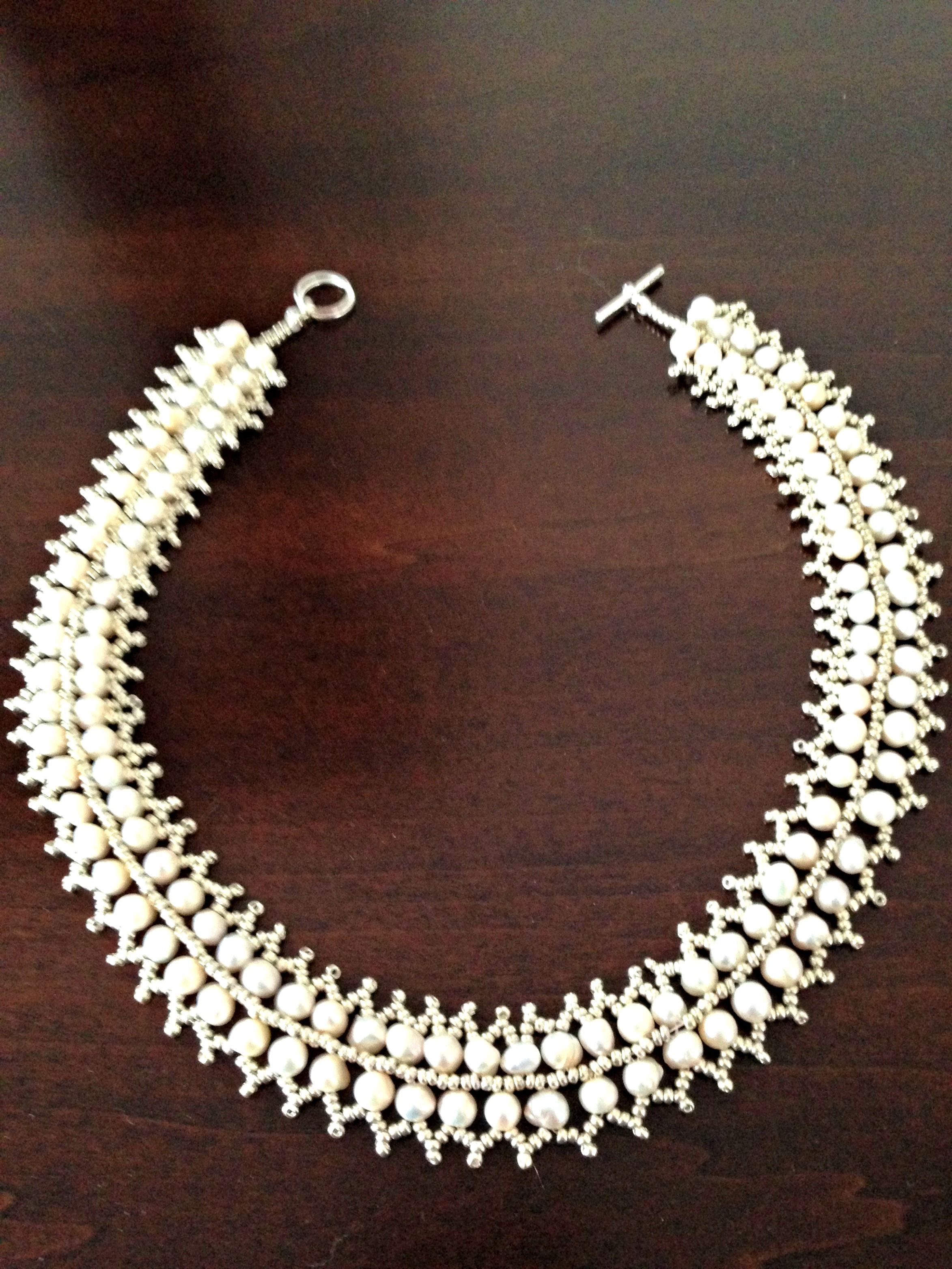 Pearl and Japanese Glass Beads Necklace