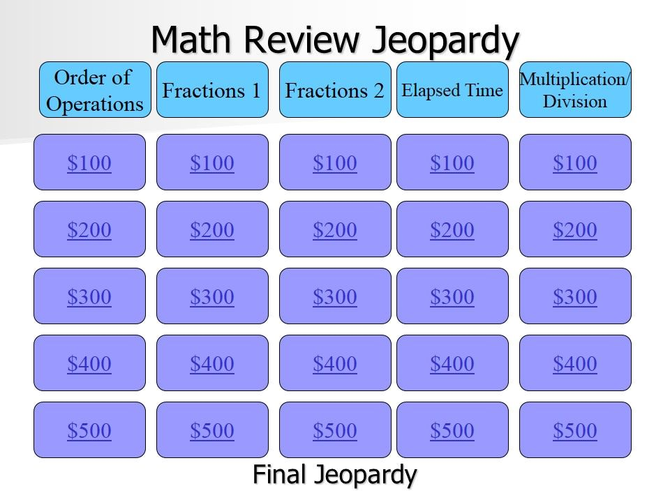 Free Jeopardy Review Games  Math Inference And School