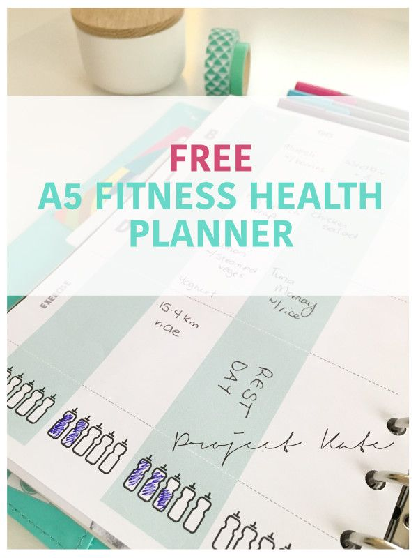 A5 Health fitness planner - Free downloadble printable {Project Kate