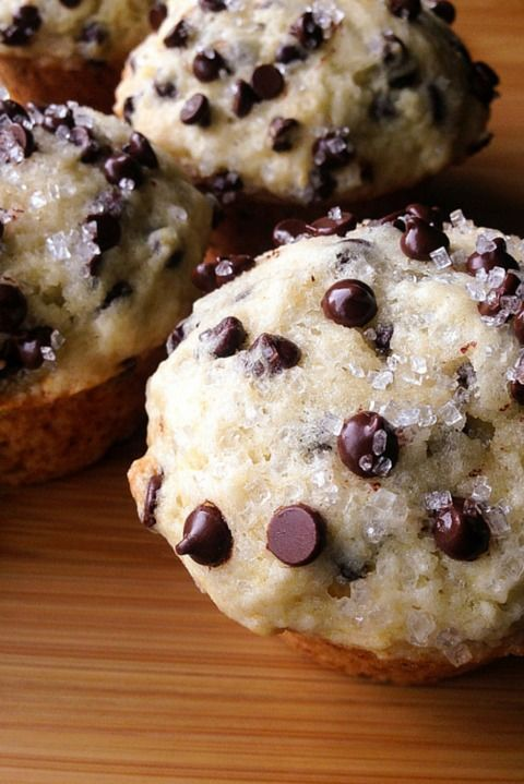 Bakery-Style Chocolate Chip Muffins: It's called a muffin, but this treat is definitely more dessert than breakfast. Still, you should feel free to enjoy it any time of the day. Click through to find more easy and delicious chocolate chip dessert recipes.