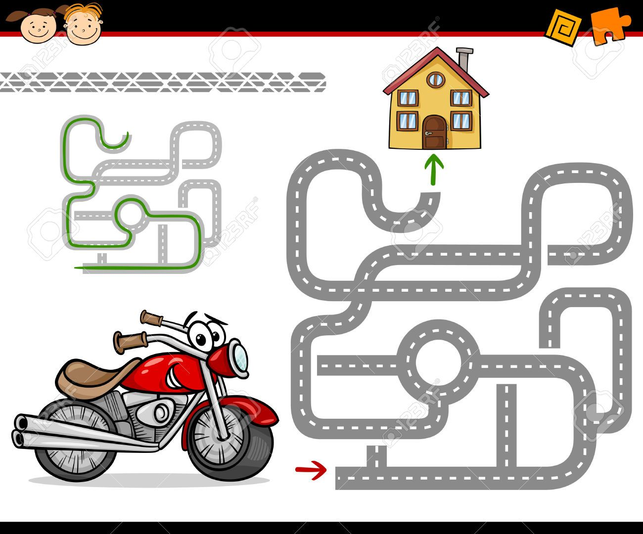 Cartoon Illustration of Education Maze or Labyrinth Game for | maze ...