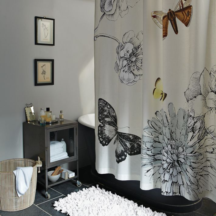 Modern Furniture Home Decor Home Accessories West Elm Butterfly Shower Curtain Gray Shower Curtains Butterfly Bathroom