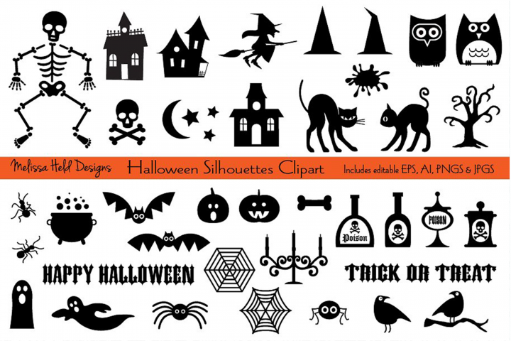 Download Halloween Silhouettes Clipart 148989 Illustrations Design Bundles Halloween Silhouettes Clip Art Halloween Icons