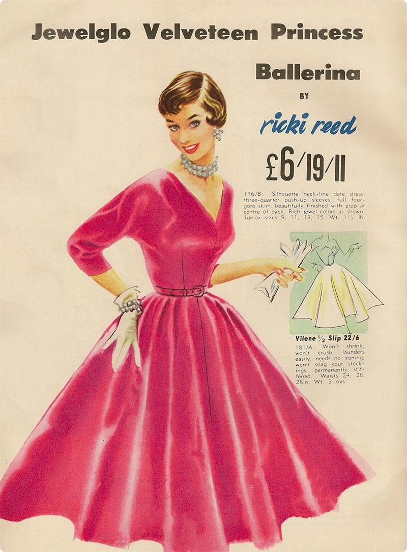 Beautiful 1950s Ricki Reed red velveteen dress. #vintage #1950s #dresses #ads