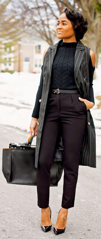 Veste longue noir et blanc