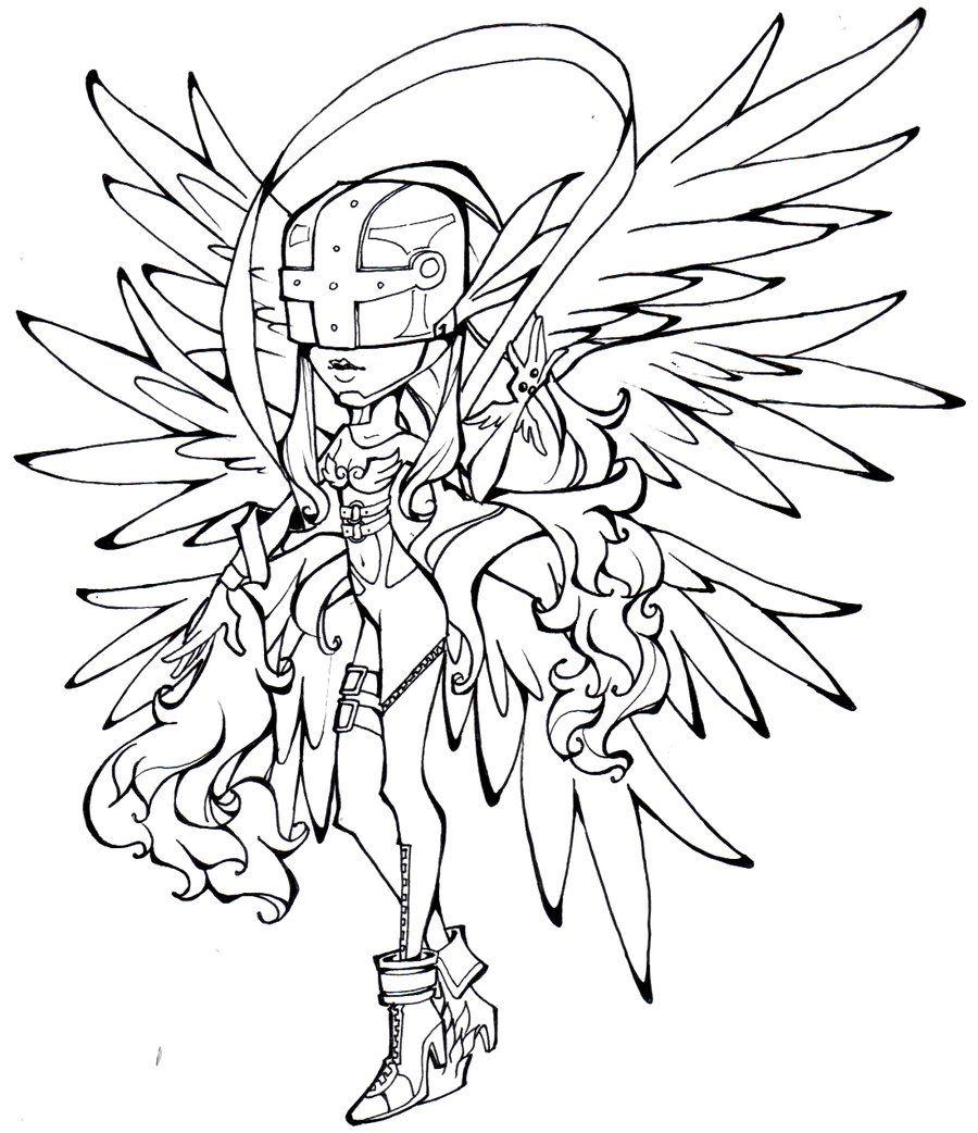 Digimon Angewomon Lineart By Glory Day Digimon Art Humanoid Sketch