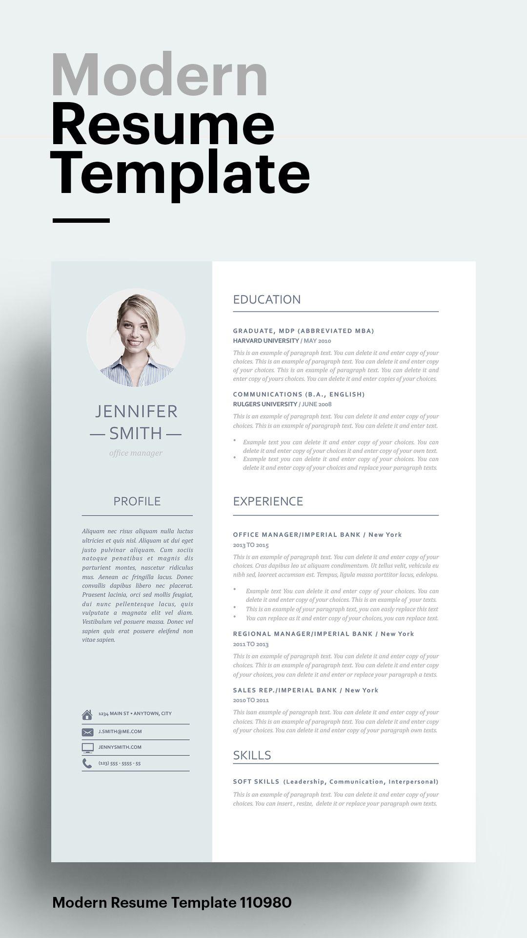 Modern Resume Template 110980 Resume template word