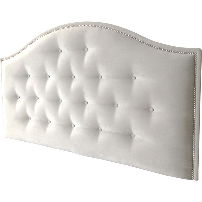 Amore Queen Warwick Fabric Studded Bed Head in Dove | Buy Queen Size Headboard