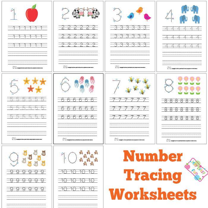 Number Tracing Worksheets For Kindergarten- 1-10 – Ten Worksheets ...