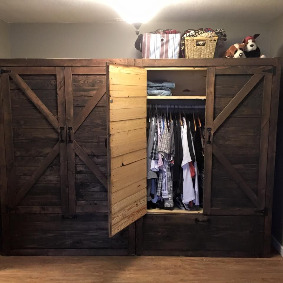 Twin Wood Pallet Wardrobe - Pallet Closet | Pallet closet, Pallet ...