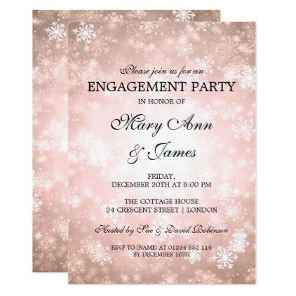Winter Wonderland Elegant Engagement Party Copper Card Gifts Ideas Diy Special Unique Personalize