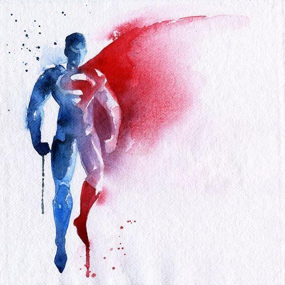 Super-homem em aquarela: