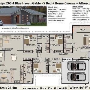 5 Bedroom house plans 260 4 m2 or 2800 Sq Feet 5 Bedroom design Australia 5 bed floor plans 5 bed blueprints