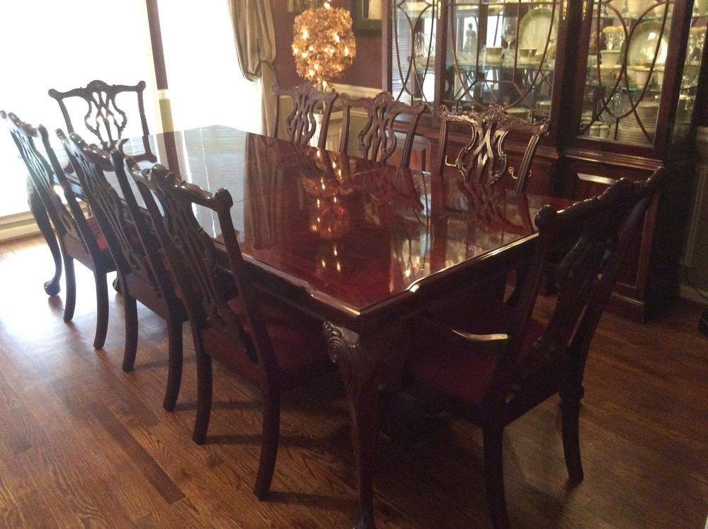 13 Pc Dining Room Set Thomasville All Mahogany Table 8 Chairs