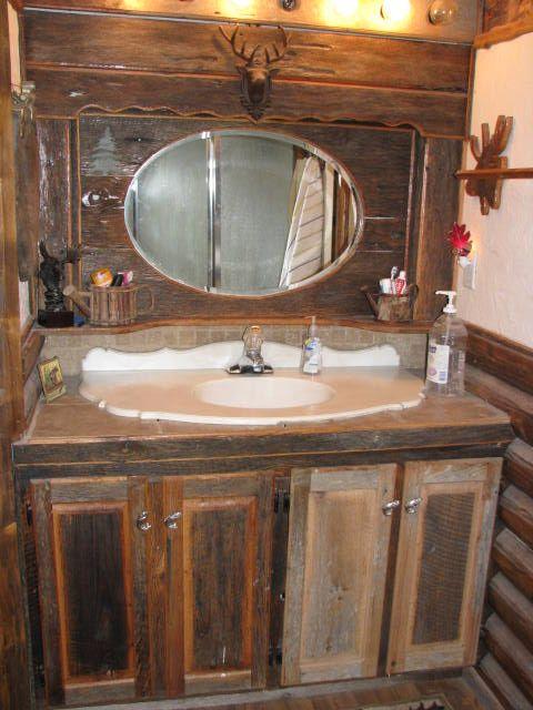 Custom barnboard vanity & mirror | Glass Moose - furniture ...