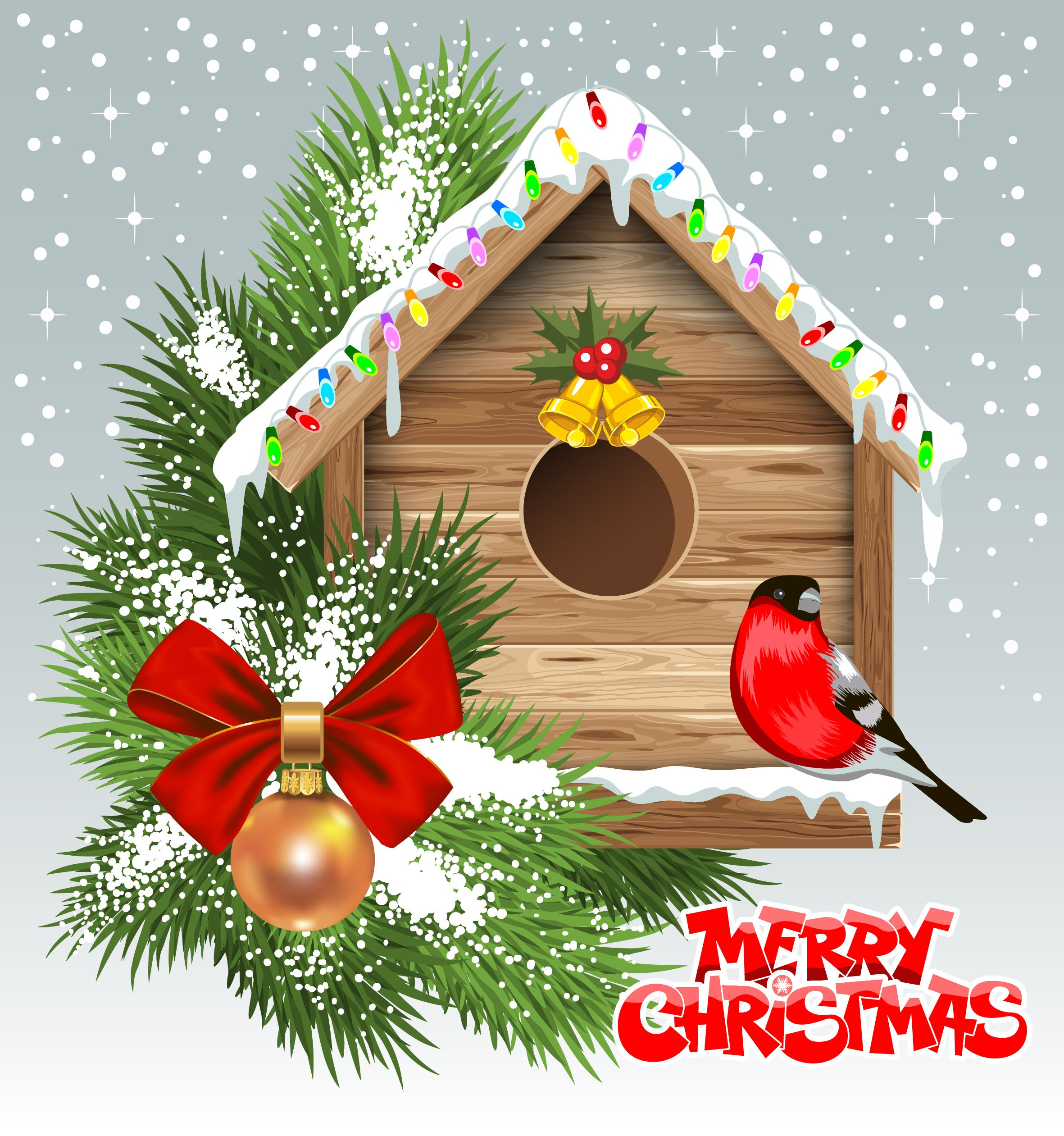 Merry Christmas With Decorated Birdhouse Vector