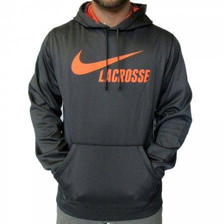 LacrosseUnlimited Nike KO Lacrosse Hoodie in Gray With Coral