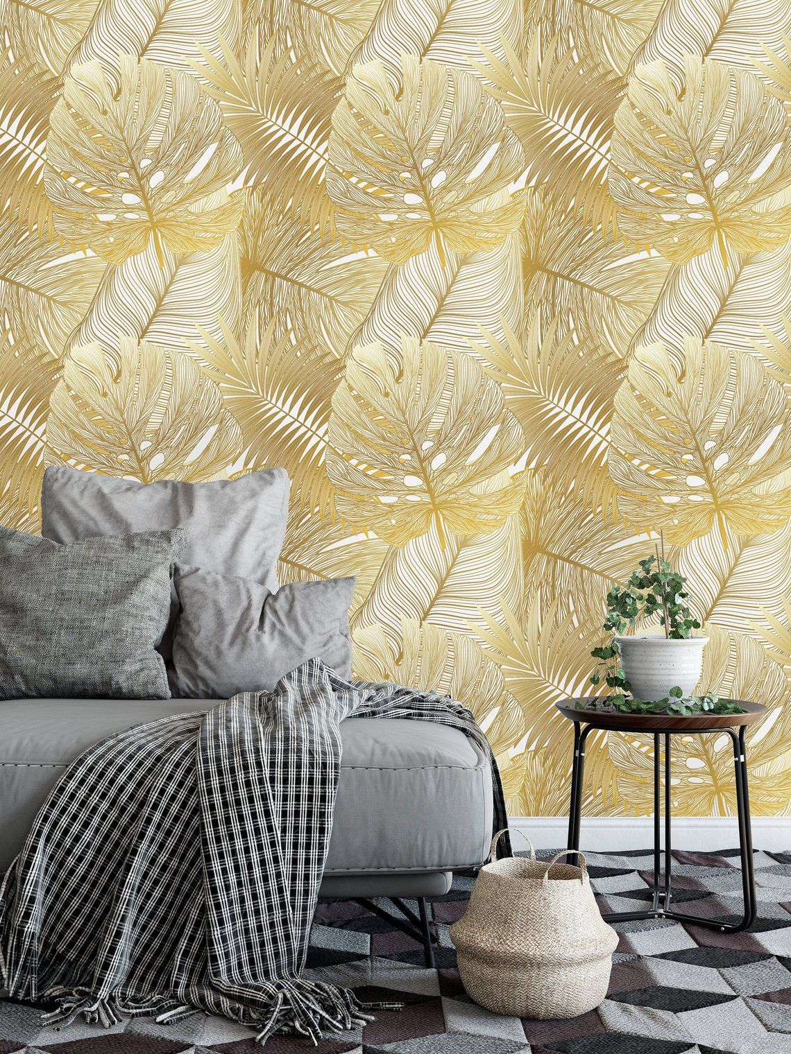 Gold Tropical Leaves Removable WallpaperPeel and Stick