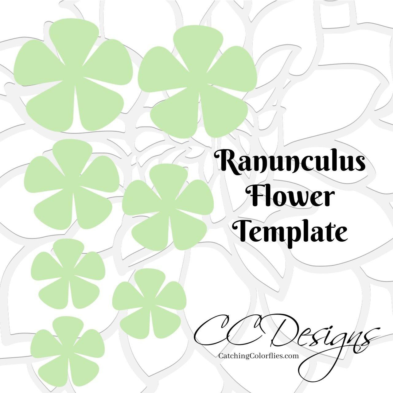 Ranunculus Paper Flower Templates Flower Template Paper Flowers Diy Paper Flower Template