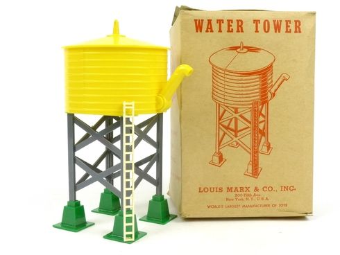 Louis Marx Trains 065 Plastic Water Tower with Spout Yellow and