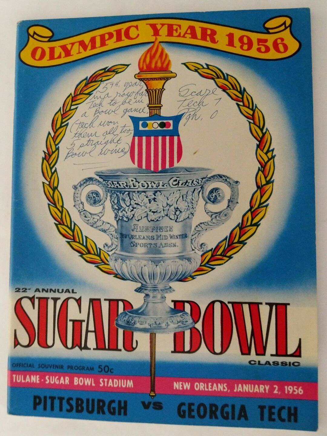 Vintage 1956 TECH VS PITTSBURGH PANTHERS SUGAR
