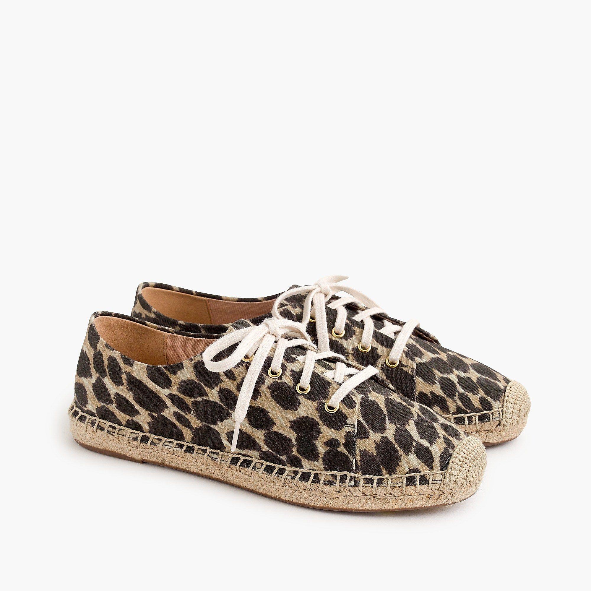 J.Crew - Lace-up espadrilles in leopard