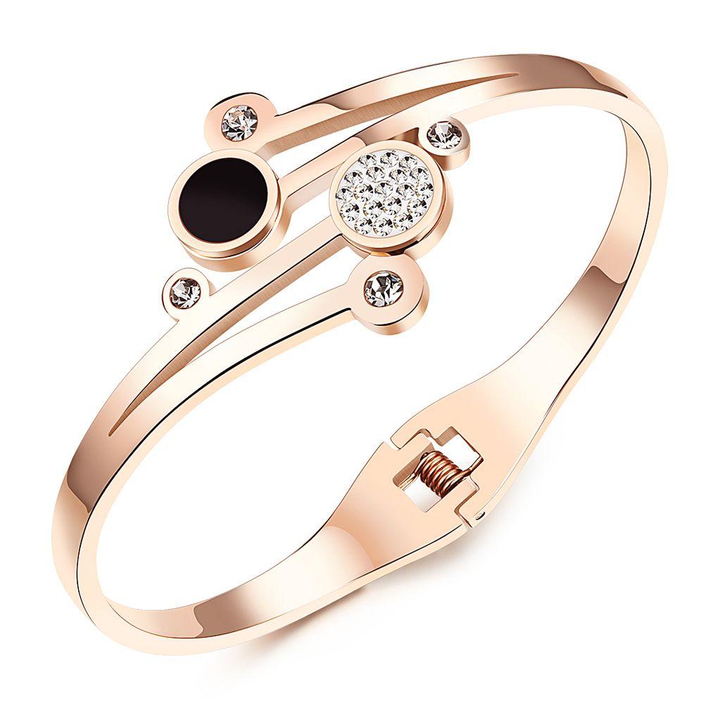 Stainless steel bangles bracelets for women cz crystaljewelry rose