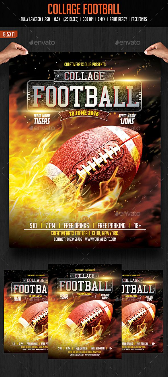 collage football by creativeartx collage football flyer template
