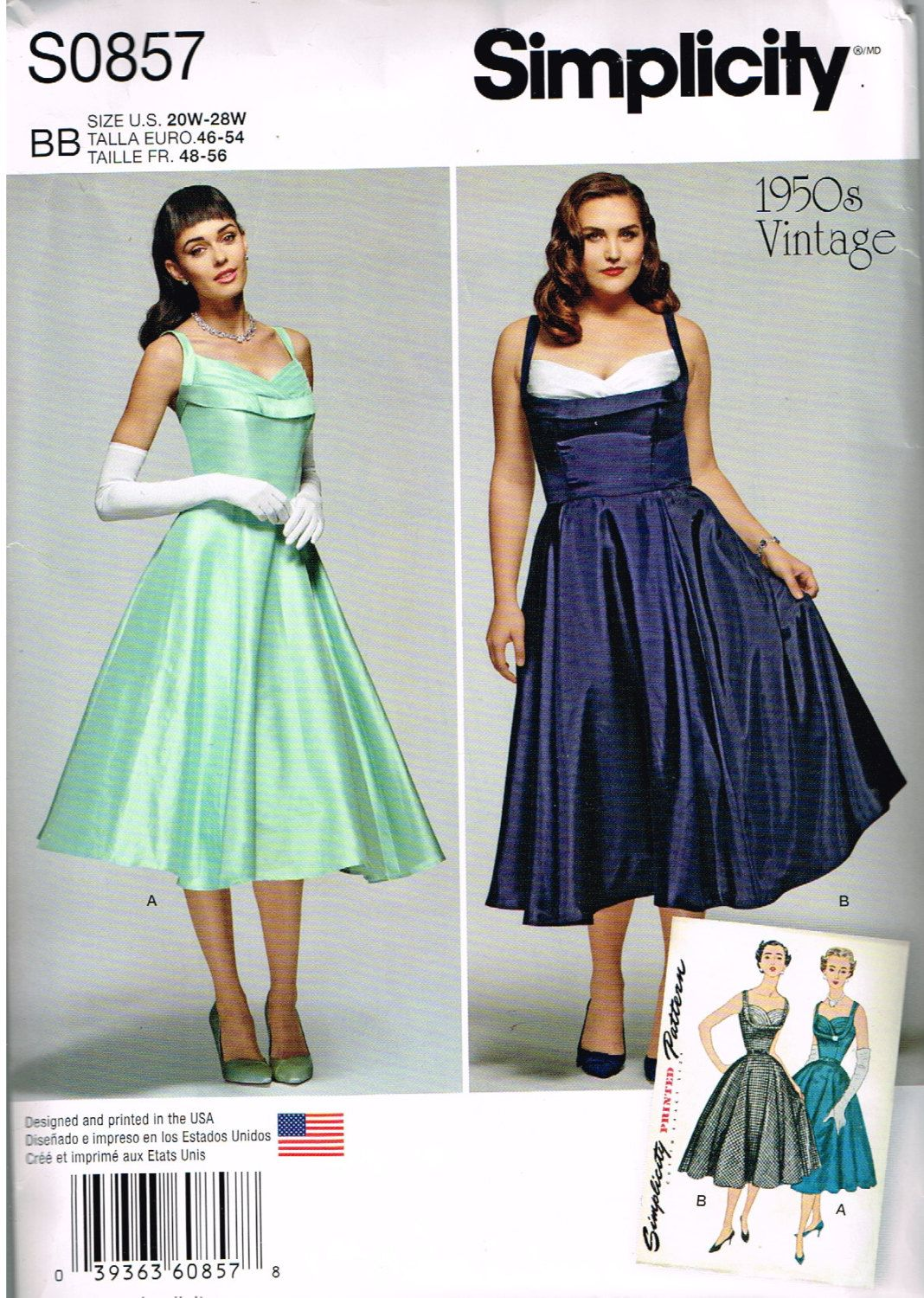 Indygo junction ij860 misses binding time apron one size simplicity 08571155 misses vintage 1950s dress sewing pattern size 20w jeuxipadfo Image collections
