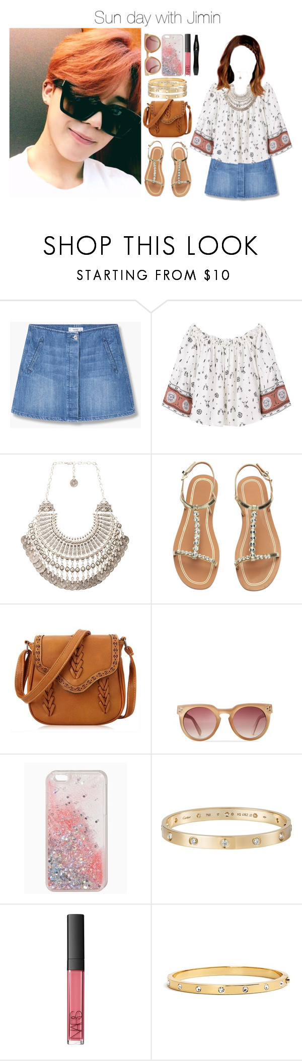"""Sun day with Jimin"" by yonce4park ❤ liked on Polyvore featuring MANGO, Natalie B, H&M, Cartier, NARS Cosmetics, Kate Spade, Lancôme, kpop, bts and jimin"
