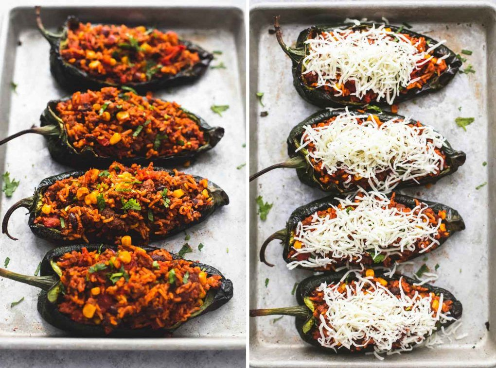 Southwest Stuffed Poblano Peppers Lecremedelacrumb Com Stuffed Peppers Stuffed Poblano Peppers Poblano Peppers Recipes