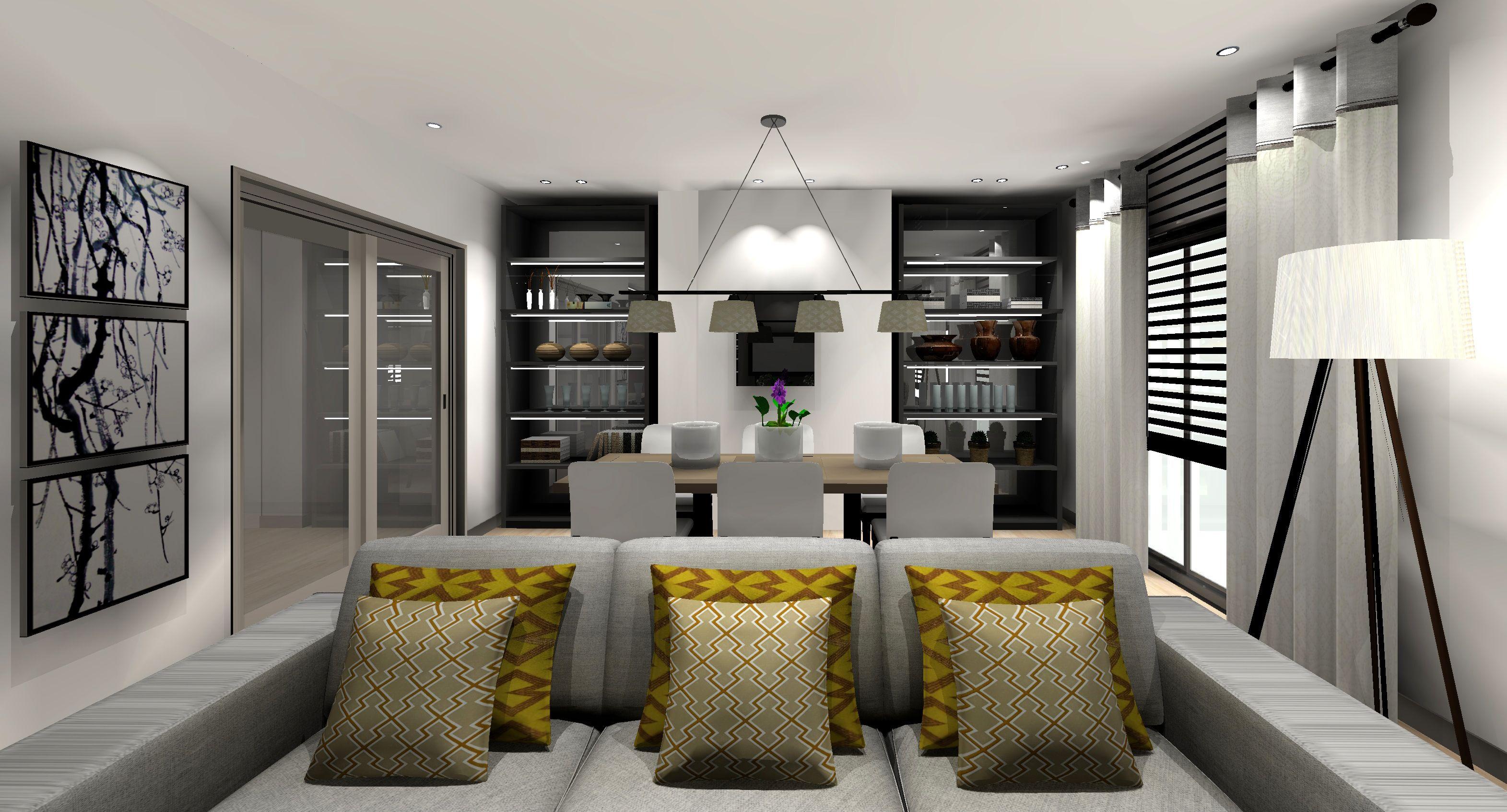 Salón en blanco y negro con toques de amarillo