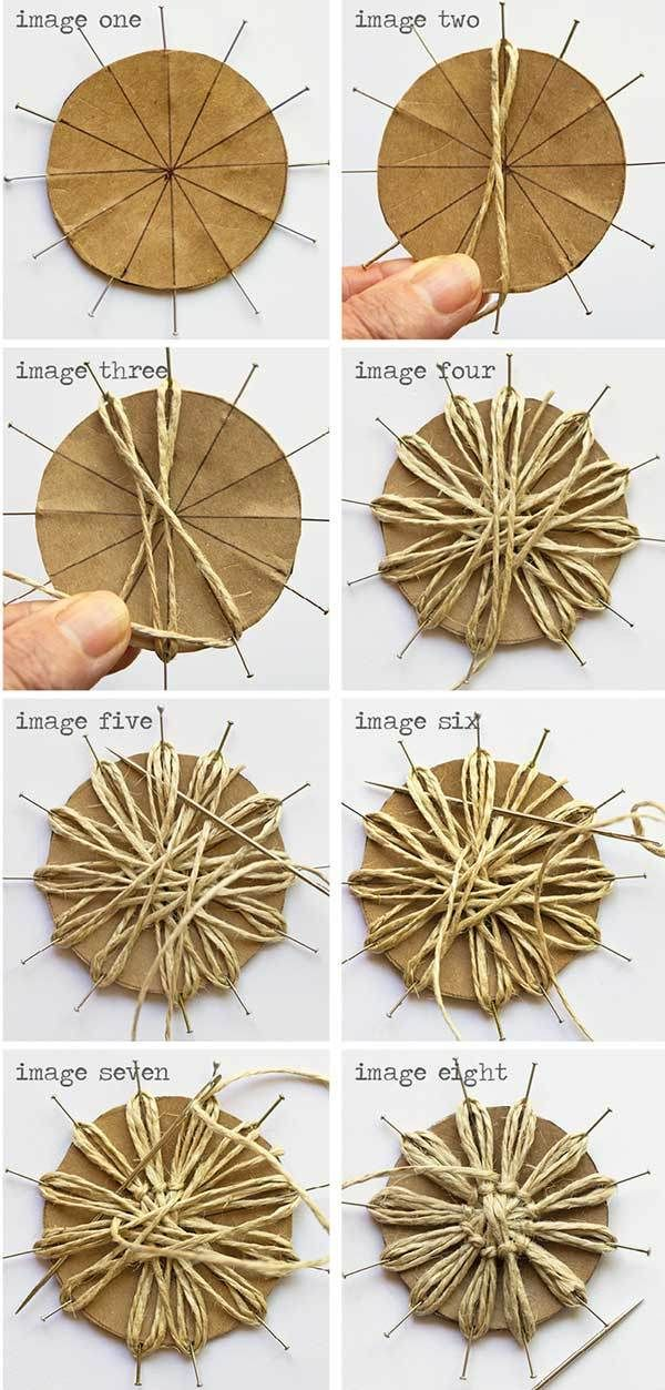 Diy twine flowers twine burlap and twine flowers for How to make hessian flowers