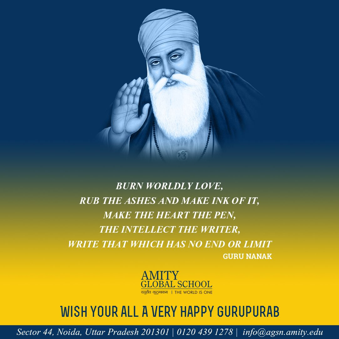 Enlighten your heart with the spiritual beliefs of Waheguru and you will find peace & solitude being guided on the right track. May the teachings of Guru Nanak Devji bring forth the goodness and compassion in you leading to happy and prosperous life.#Happy #Gurupurab #universalbrotherhood #spititualthoughts #sharedhumanity #‎GuruNanakJayanti‬ ‪‬ ‪#‎lights‬ ‪#‎joy‬‪#‎sikhism ‬#celebration