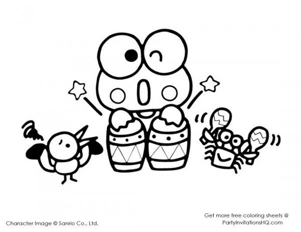 printable coloring pages hello kitty friendship | Keroppi coloring pages (Hello Kitty & friends) | All ...