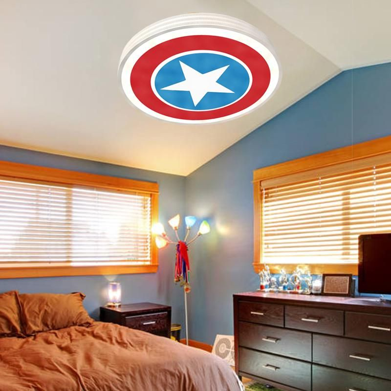 White captain america star kid room bedroom children princess white captain america star kid room bedroom children princess ceiling light lamp us 1522 aloadofball Image collections