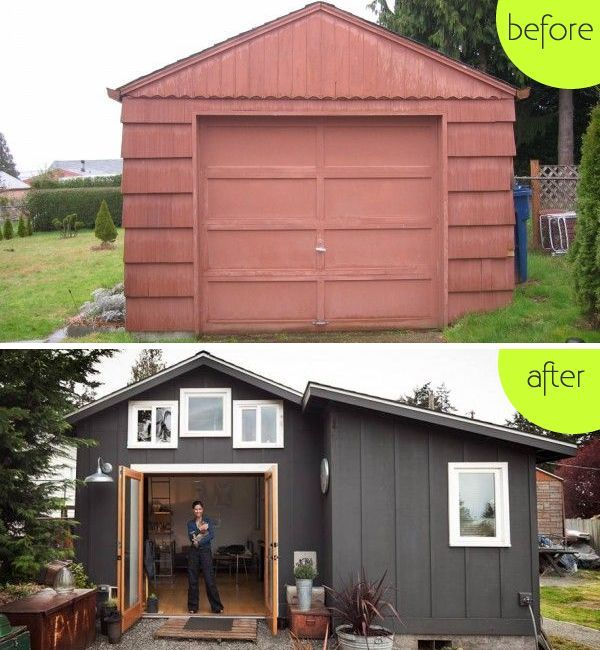 boring garage turned into fancy small home in seattle make and create garage makeover. Black Bedroom Furniture Sets. Home Design Ideas