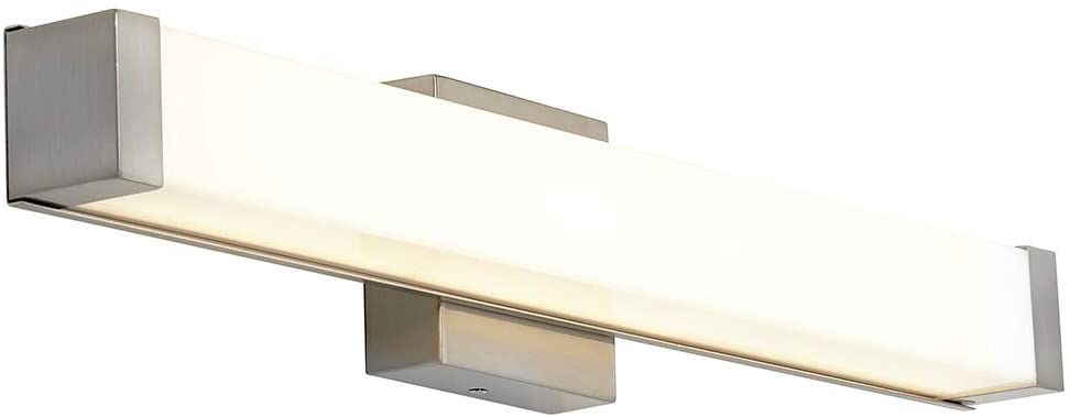 Photo of New Square Cap End Modern Frosted Bathroom Vanity Light Contemporary Slim Dimmable Rectangular LED 24 Vertical or Horizontal Lighting Brushed Nickel Wall Light 3000K Warm White