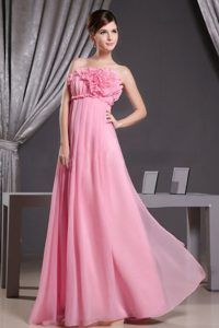 Pink Floor Length Best Seller Prom Evening Dresses With Flowers For