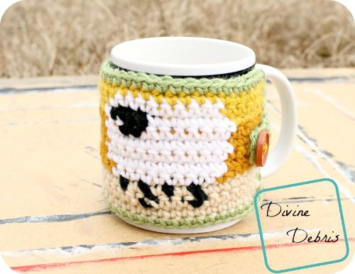 Dancing Sheep Cup Cozy Free Crochet Pattern By Divinedebris