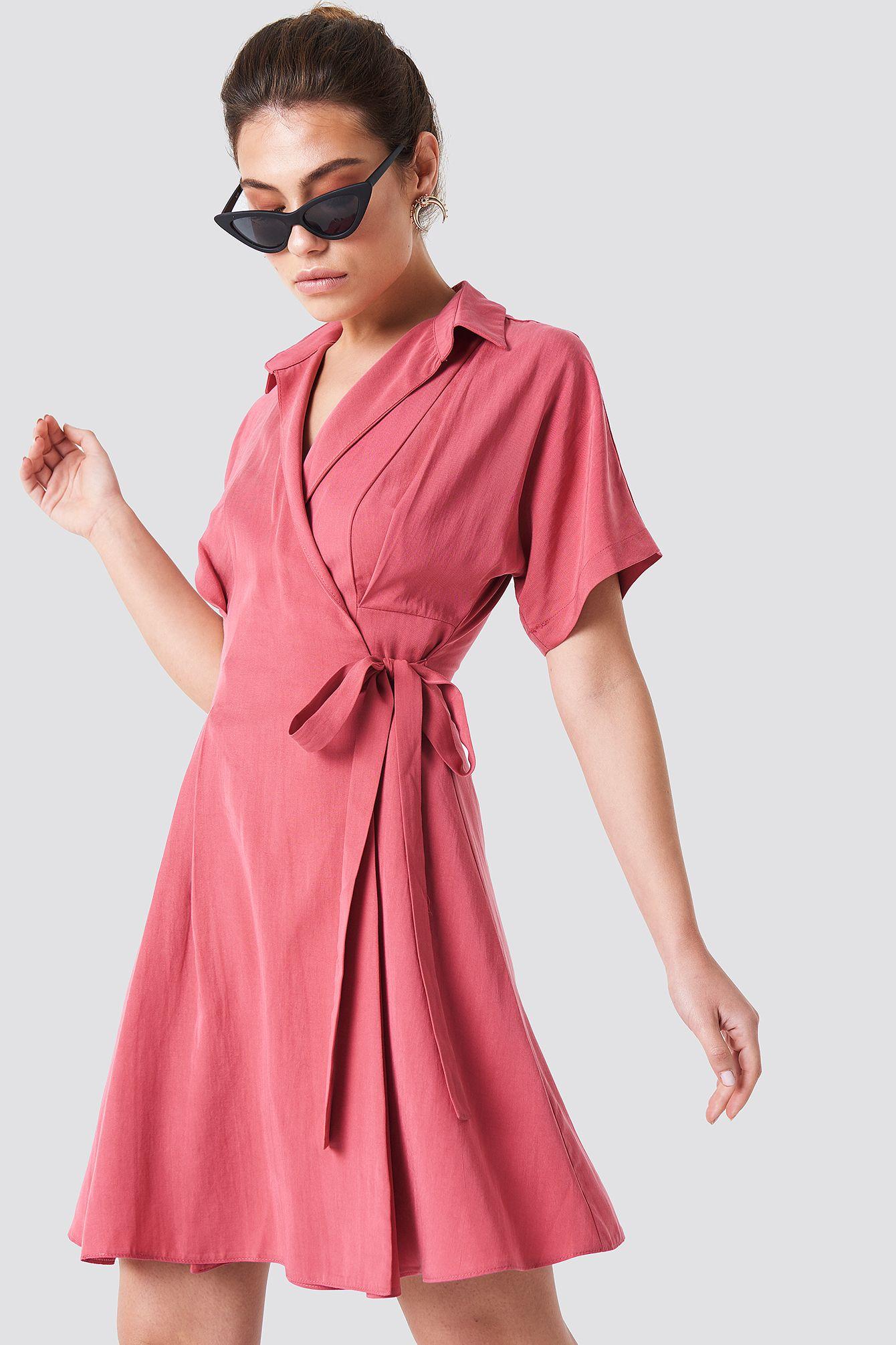 Trendyol Wrap Around Midi Dress Pink Midi Dress Pink Midi Dress Dresses [ 2010 x 1340 Pixel ]