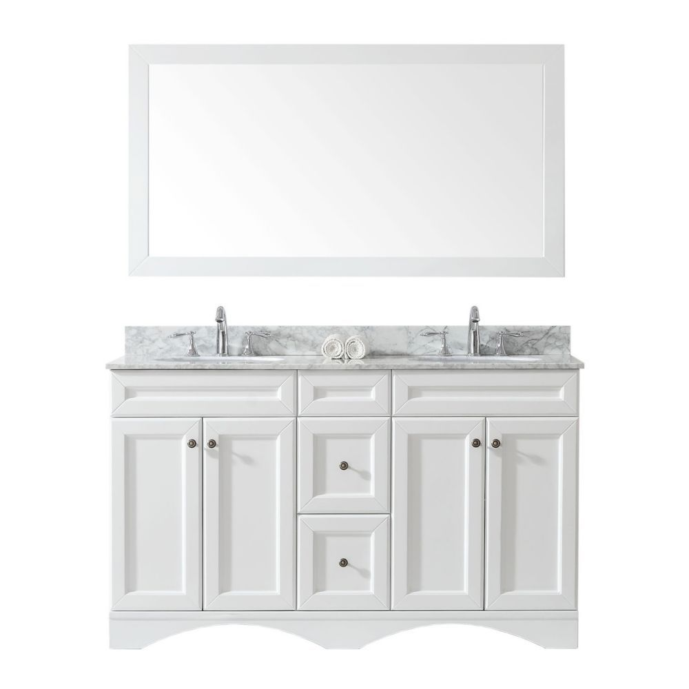Talisa 60 Inch Double Vanity In White With Marble Top Round Sink