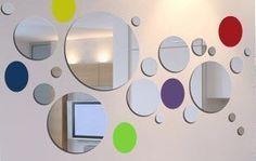 Decoración del hogar Espejo de Pared Pegatinas Redondo Círculo 28 piezas de diferentes tamaños