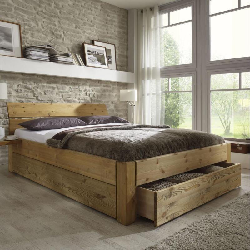 Doppelbett bett gestell mit schubladen 180x200 kiefer