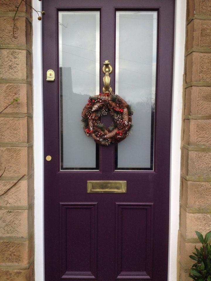 front door farrow and ball pelt and brass furniture christmas wreath - Farrow And Ball Brinjal