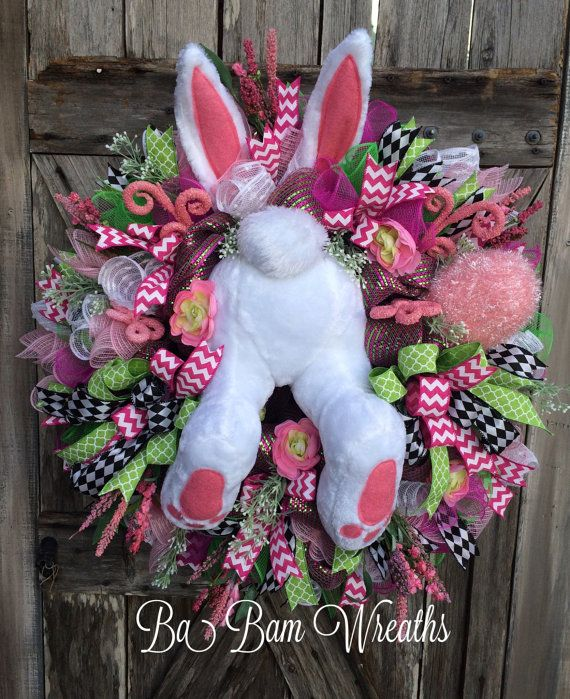 Reserved for SWEETIE, Whimsical Easter Wreath, Bunny Butt, Door Decor, Easter Wreath, Bunny Wreath, Spring Wreath, Easter Mesh Wreath O Mr Bunny digging a hole, dont run off dont you go..... Sweet & charming....hes a pure delight~ this wreath created a whimsical sight for your door/mantel/wall or office~ make your space have the WOW factor! Notice the details~ this one is packed with surprises all throughout~ from the gorgeous florals, 3 types of ribbon, springy swirls and ...