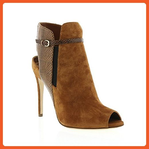 new styles c36d3 6b67e Sergio Rossi Camel Suede/Camel Snake Open Heel Ankle Boot ...