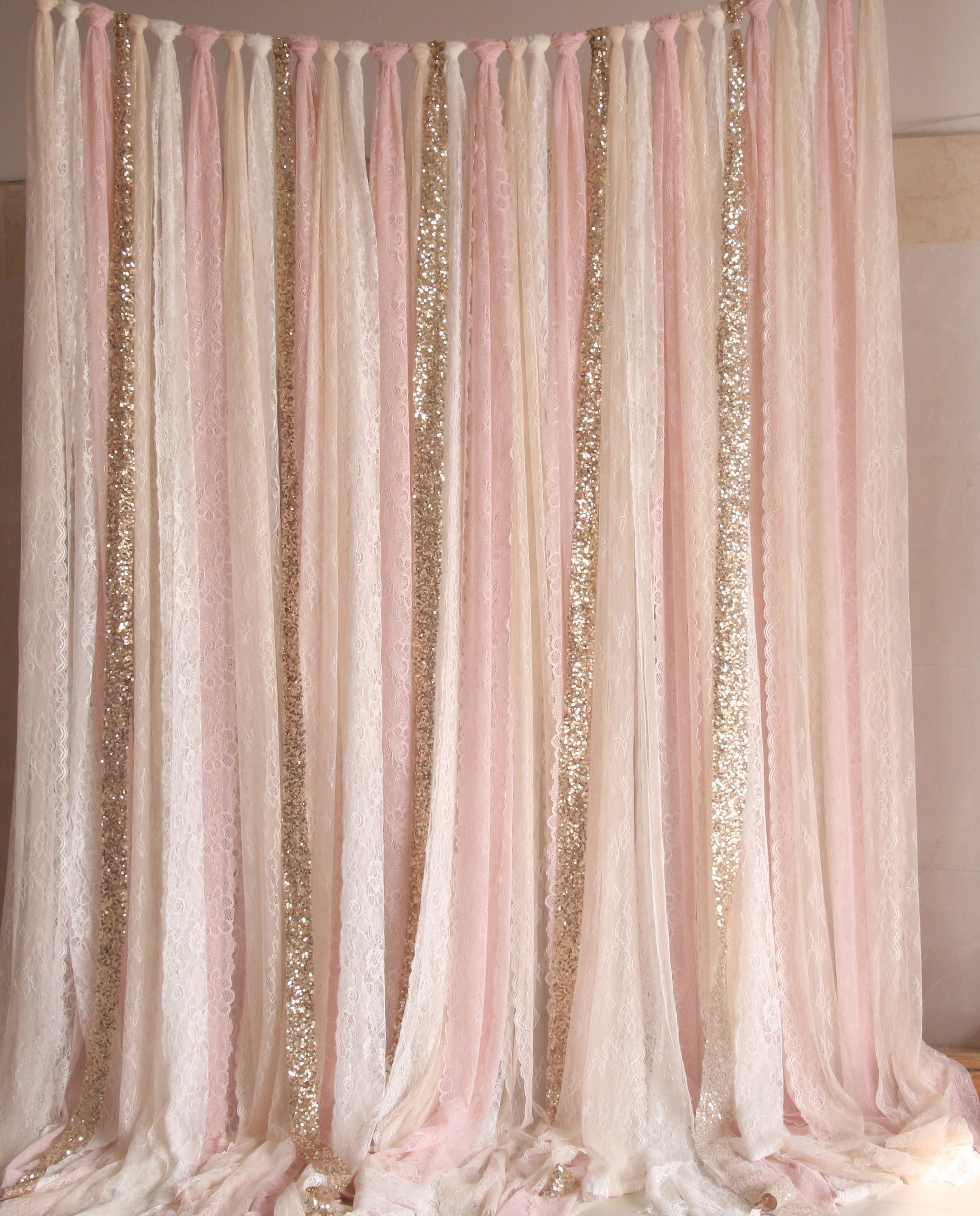 Pink Sequin Curtains Blush Pink White Lace Fabric Gold Sparkle Photobooth Backdrop